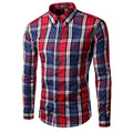 2017 New Spring Men's Plaid Slim Fit Casual Long Sleeve Shirt Fashion Chemise homme Brand Clothing camisa masculina Shirt