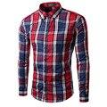 2017 nuevos hombres de la primavera a cuadros de moda camisa de manga larga ocasional delgada del ajuste chemise homme brand clothing camisa camisa masculina