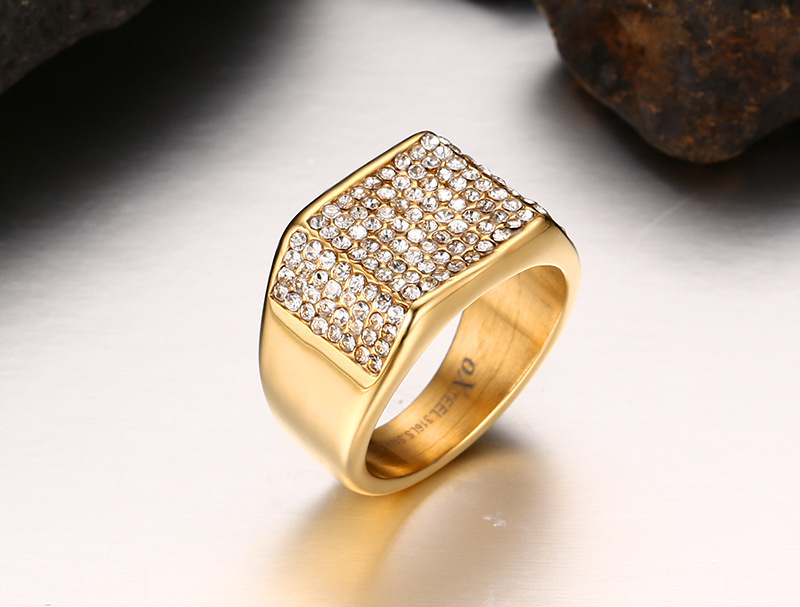 Cool Big Gold Men Wedding Rings Whole Crystal Stainless Steel