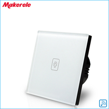 Remote Touch Switch EU Standard 1 Gang 1way RF Remote Control Light Switch UK Standard White Crystal Glass Panel