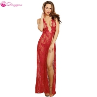 DangYan 2017 New Sexy Hot Lingerie Lace Perspective Pajamas Erotic Lingerie Sex Long Red Erotic Sleepwear