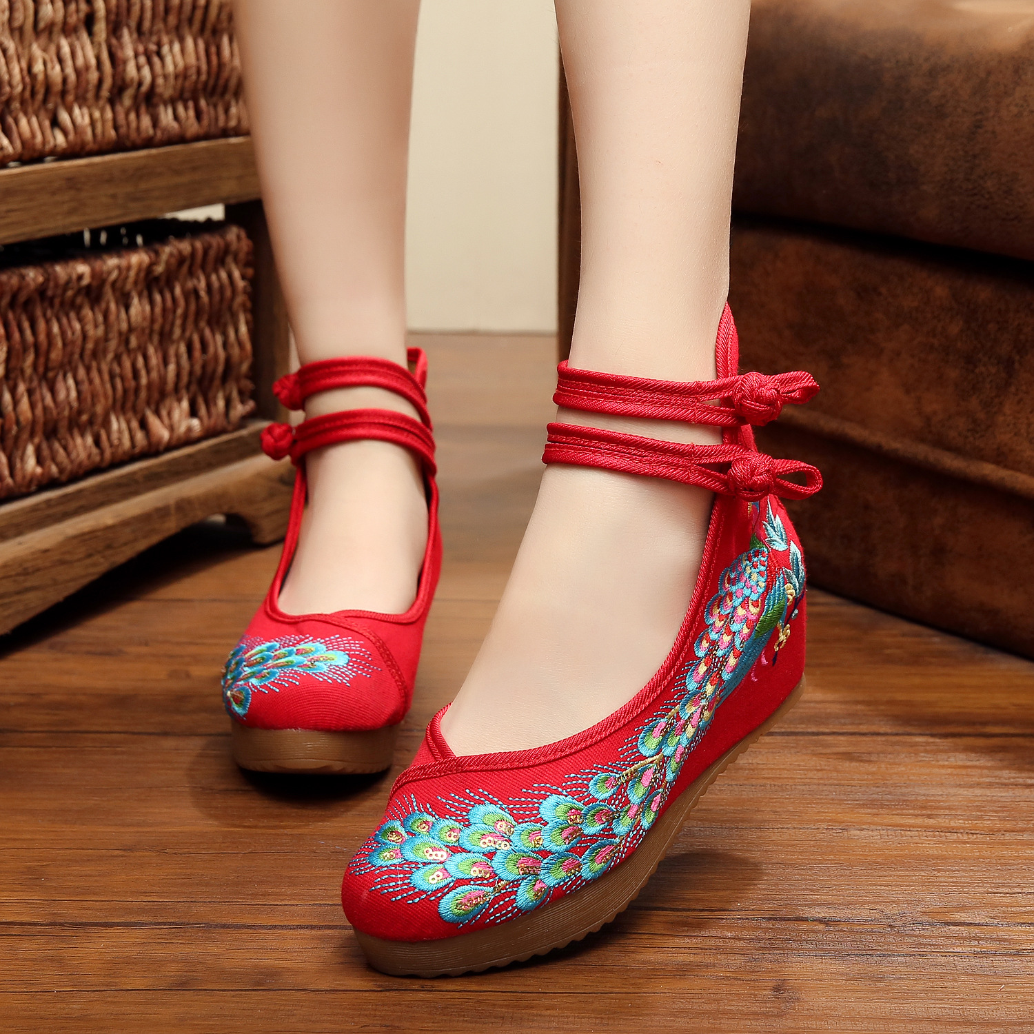 Platform Size 41 Fashion Women Shoes, Old Beijing Mary Jane Flats With Casual Shoes, Chinese Style Embroidered Cloth shoes woman autumn new women flats vintage chinese old beijing shoes tourism embroidered floral single soft lace up shoes woman