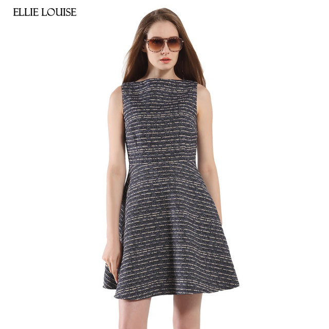 032e3bcfbce ellie louise 2017 New Spring European Sweet Women Elegant Wool Sleeveless  Dress Navy Blue Stripe Slim Warm Lady Dress