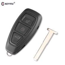 KEYYOU ключ оболочка Крышка Fob 3 кнопки для Ford Focus C-Max Mondeo Kuga Fiesta Замена смарт-чехол для дистанционного ключа от машины HU101 Blade