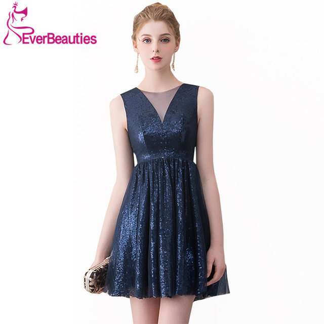 37089cd589d Short Cocktail Dresses 2019 Sequins Tulle Navy Blue Knee Length For Women  Homecoming Dresses Prom Party Dresses Robe De Cocktail