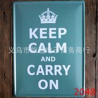Hot sales large Vintage Metal paintingKEEP CALM AND CARRY ONlicense plate wall painting art fashion crafts decoration 30x40 cm
