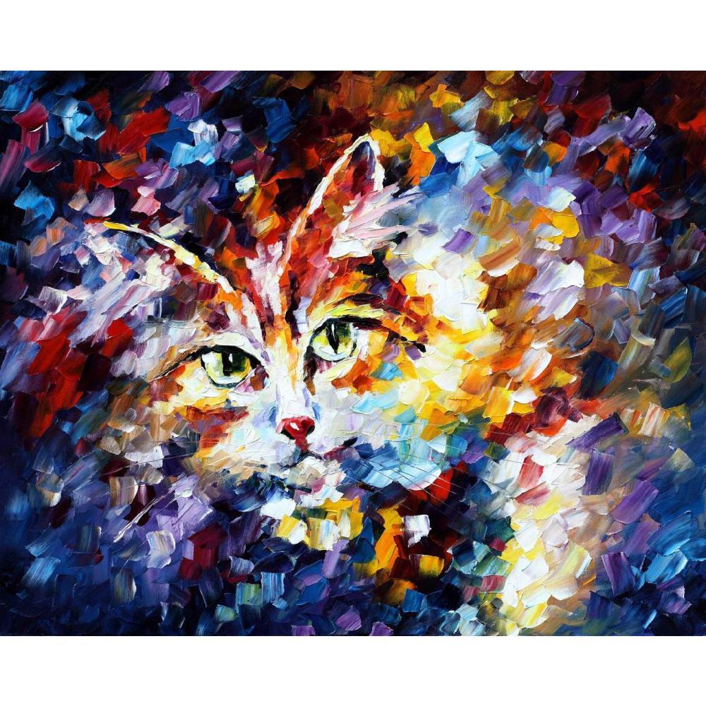 Большой стене картинки животных кошка мастихином картина маслом на холсте Современный домашний декор