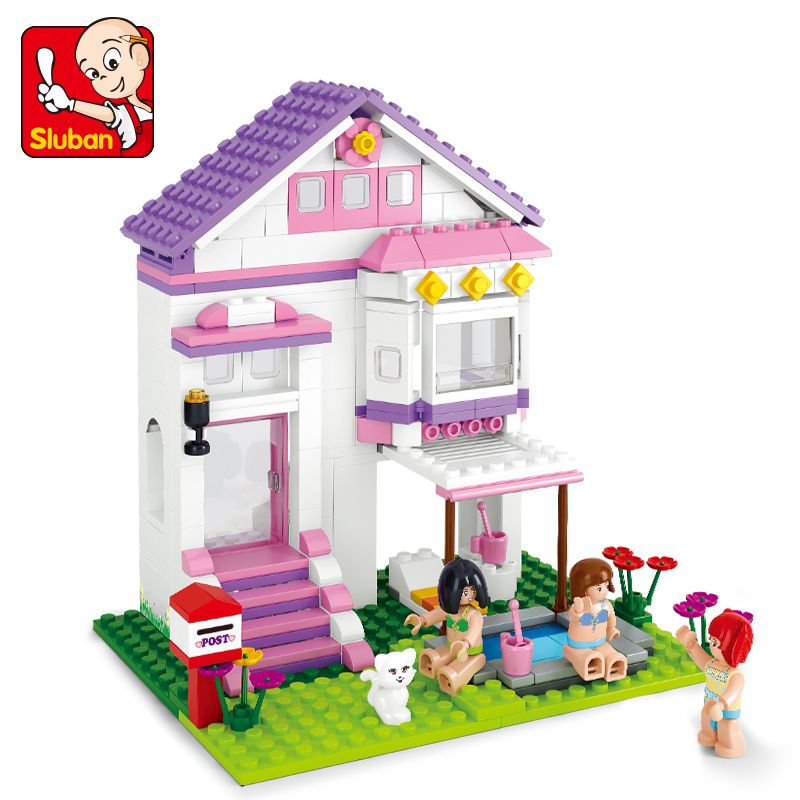 SLUBAN 0532 Friends Building Blocks Dream Series Pool Villa Kids DIY Assembled Brick Toys Christmas Gift