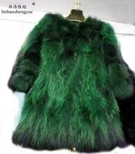 Linhaoshengyue LONG 75cm Raccoon fur long coat black and green