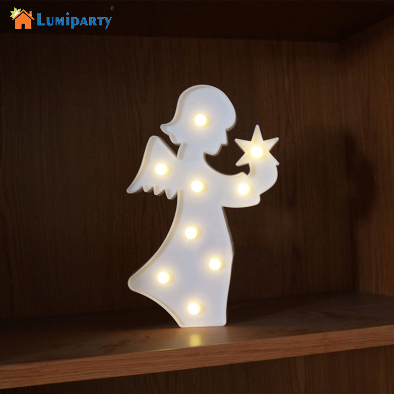 LumiParty New 3D Led Night Light Angel Shape Warm WhiteTable Lamps For Kids Children Gift Party Wedding Room Decor