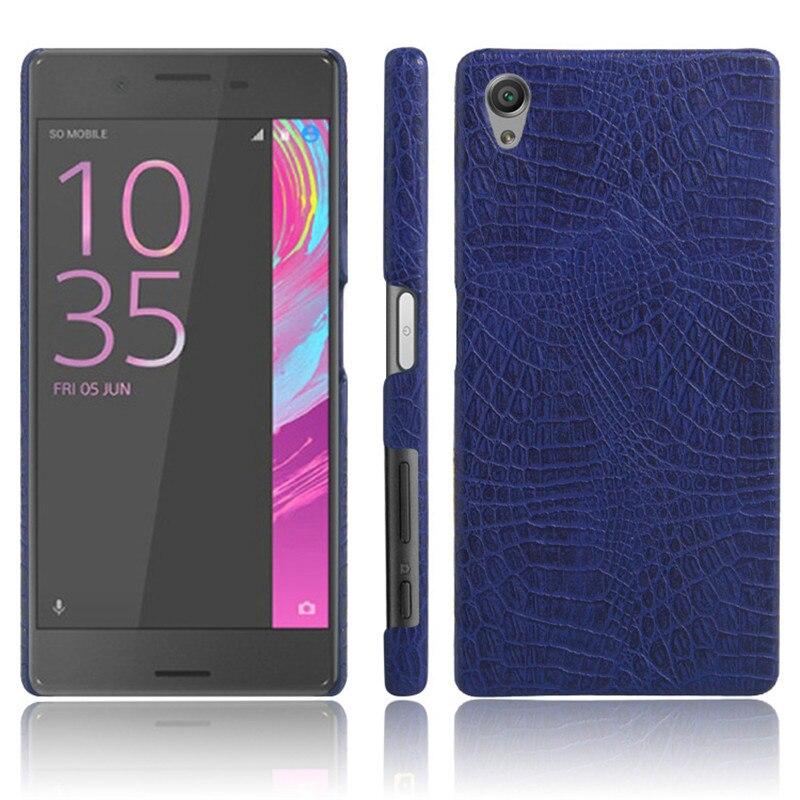 Para Sony X F5121 F5122 Caso Crocodile Grain PU + PC Pele de Volta capa Dura da tampa do Caso Do Telefone para Sony Xperia X Dual F5122 Duro cobrir