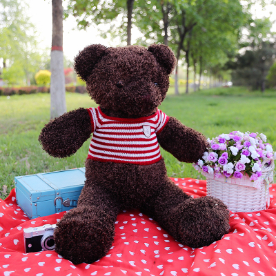 цена на stuffed plush toy large 100cm dark brown teddy bear plush toy bear doll soft throw pillow Christmas gift b1265
