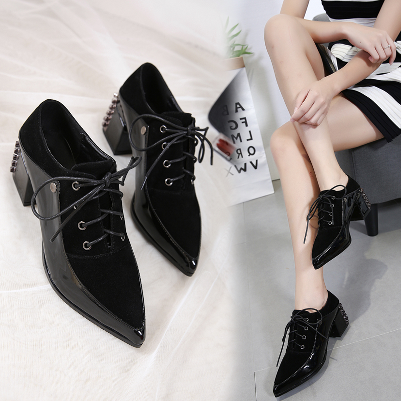 2017 autumn new single shoes Europe and the United States fashion with high-heeled rivets before the front with a pointed shoes