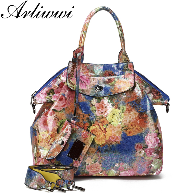 0a3b4a44145a Arliwwi Large Shiny Flower Printings Tote Shoulder Bags Women High Quality  FLoral Purses and Big Handbags