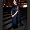 2017 de Noche Largo Vestido de Fiesta de Satén de Baile Vestido de Dubai Abaya CGE449 Dark Navy Vestidos de Noche Formal para Las Mujeres