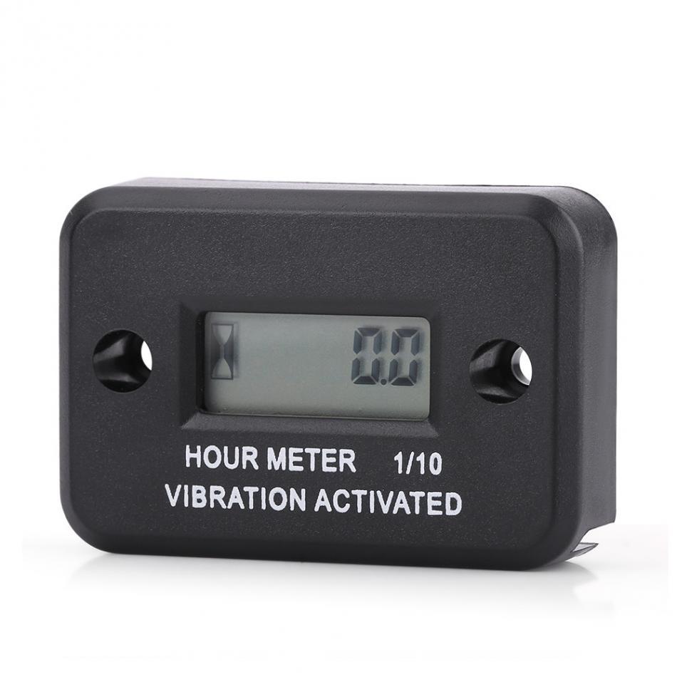 Digital Vibration Hour Meter Gauge Vibration Hour Meter Engine Hour Meter for All Vibrating Machine Motorcycle ATV Boat Marine Black