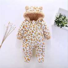 Winter Baby Rompers Clothes Long Sleeved Newborn Boy Girl Coral Fleece Baby Leopard Jumpsuit Infant Baby Clothing for 0-12M(China)