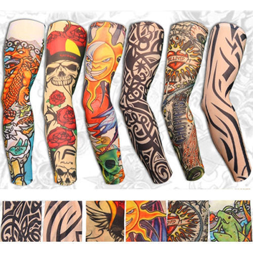 6Pcs Fashion Stretchy Slip On Temporary Tattoo Sleeves Cool Arm Stockings Cover