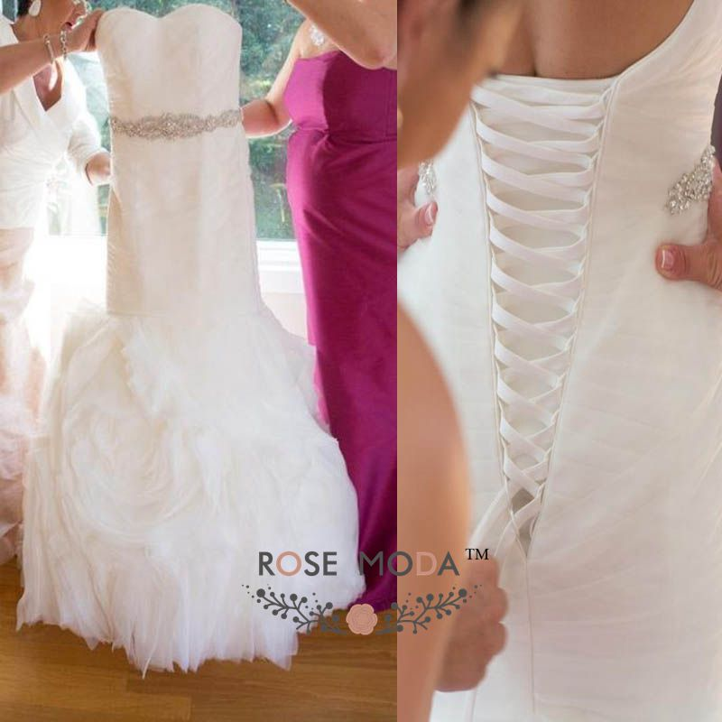 Ruffled Organza Mermaid Wedding Dress Corset Back 3D Swirled Bridal ...