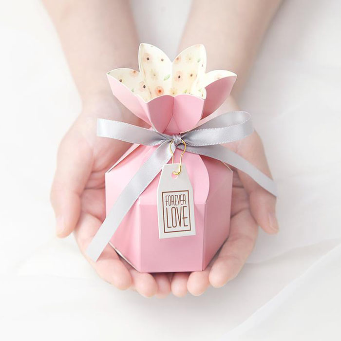 40PCS Tiffany And Pink Color Vase Shape Paper Gift Box  Wedding Candy Box Chocolate Boxes Baby Shower Favor Box With Ribbon