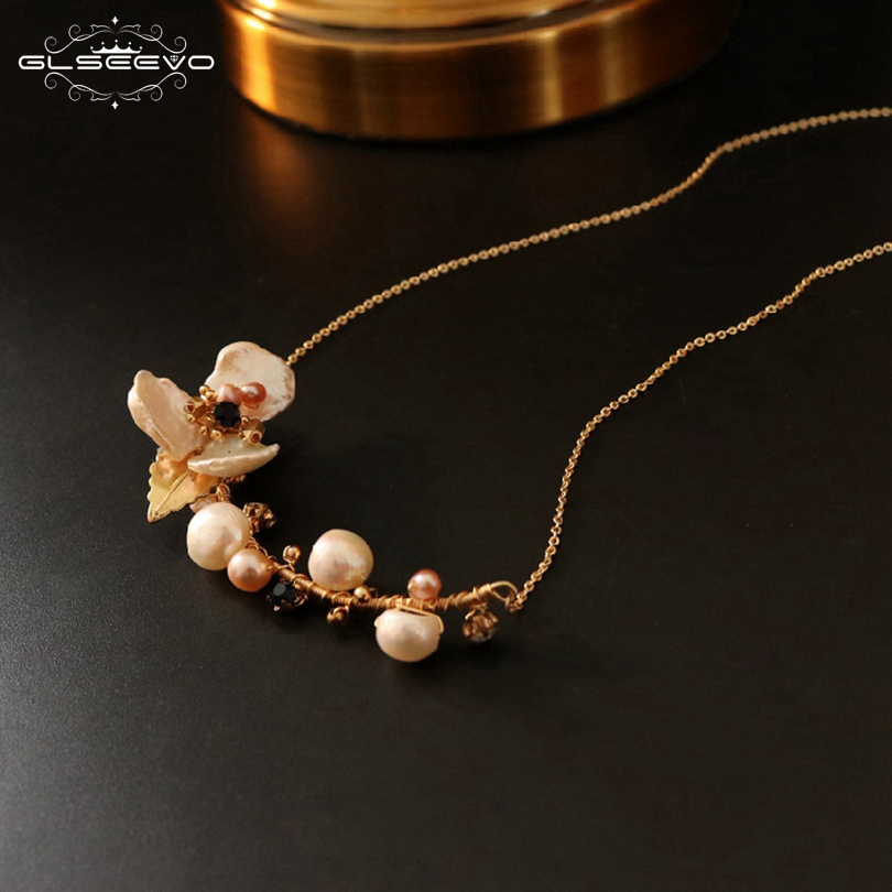 Image 2 - GLSEEVO Natural Fresh Water Baroque Pearl Flower Pendant Necklace For Women Luxury Fine Jewellery Bijoux Collares Collane GN0064-in Necklaces from Jewelry & Accessories