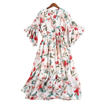 2019 Summer Dresses V neck Chiffon Dress Female Elegant Holiday Beach Sundress Elastic Waist Bohemian Floral Women 5XL pius size