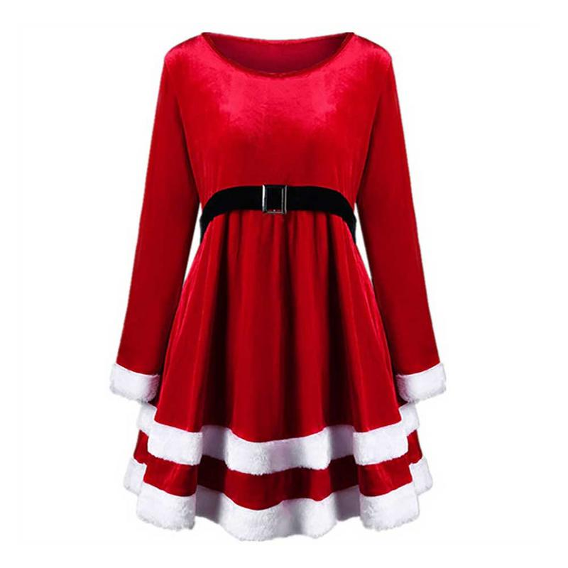 Women Warm Winter Autumn Dress Long Sleeve Furry Velvet Swing Flare Dress Midi Party Dress Slim High Waist Femme Vestidos XXL