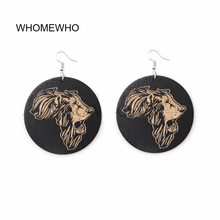 Tribal Wood Africa Map DOPE Afro Lion Head Black Girl Magic Earrings Wooden African Bohemia Ear Jewelry Club Accessories