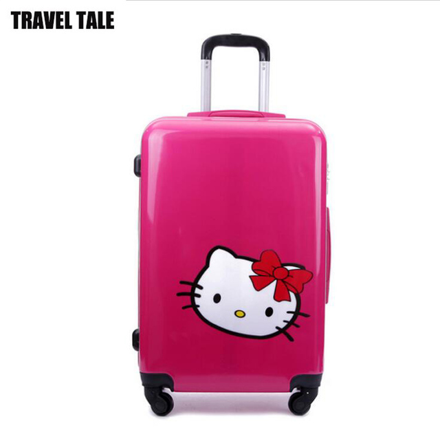 20 24 Inch Green Red Cute Trolley Bag Pc Abs O Kitty Travel
