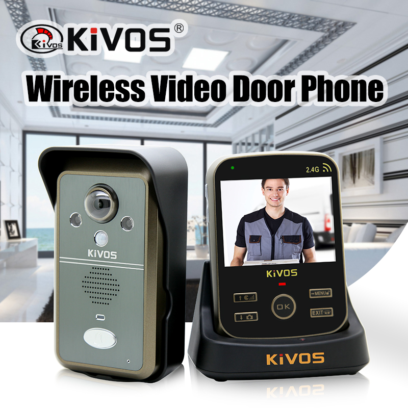 KiVOS 2.4GHz Wireless Video Intercom Doorbell Video Door Phone Camera With Motion Detect,video Talk, Auto Take Photo KDB302A