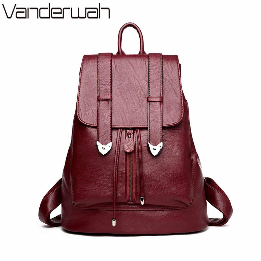 3cc62ff1012c VANDERWAH Новый Досуг Для женщин рюкзаки Для женщин кожаные рюкзаки женские школьные  сумки для девочек-