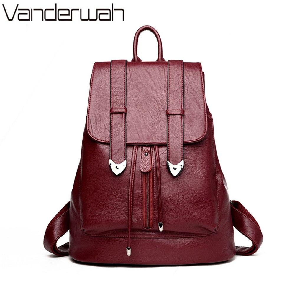 d556f982aa MINOFIOUS Genuine Leather Backpack Headphone Backpacks High Quality Zipper  School Bag Black Soft Back Bags Shoulder ...
