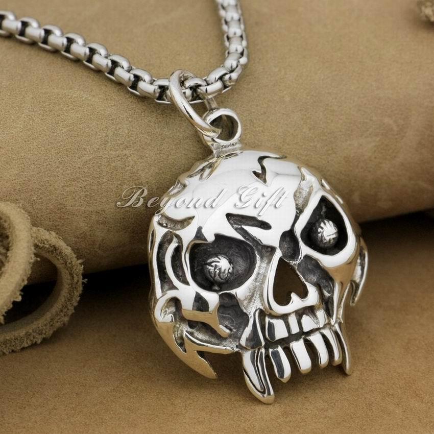 925 Sterling Silver Skull Mens Biker Rocker Punk Pendant 9R009925 Sterling Silver Skull Mens Biker Rocker Punk Pendant 9R009