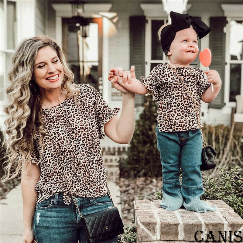 New Family Matching Outfits Mom And Me Leopard Print Short Sleeve T-shirt Mother Daughter Casual Active Family Cotton Clothes