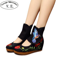 Embroidery Boots Chinese Classical Bird Embroidered Cloth Old Beijing Women S Singles Shoes Boots Wedges Dance