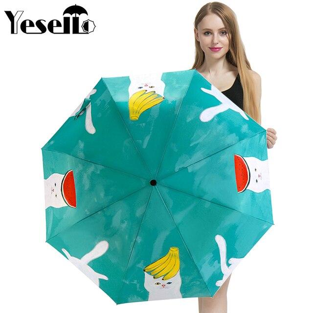 caf06ba0e Yesello Cute Cat Original Design Women's Umbrella Oil Painting Portable 3  Folding Parasol Fashion Lady