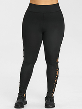 Plus Size 5XL High Waist Sexy Lace Up Floral Lace Legging Women Fitness Skinny Leggins Capri Sporting Legins Big Size