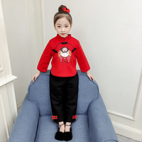 2019 Fashion Baby Girls Han Suit Brand Kids Chinese Traditional Embroidery Cotton Clothing Set Pullover Pants Suits 2 7T