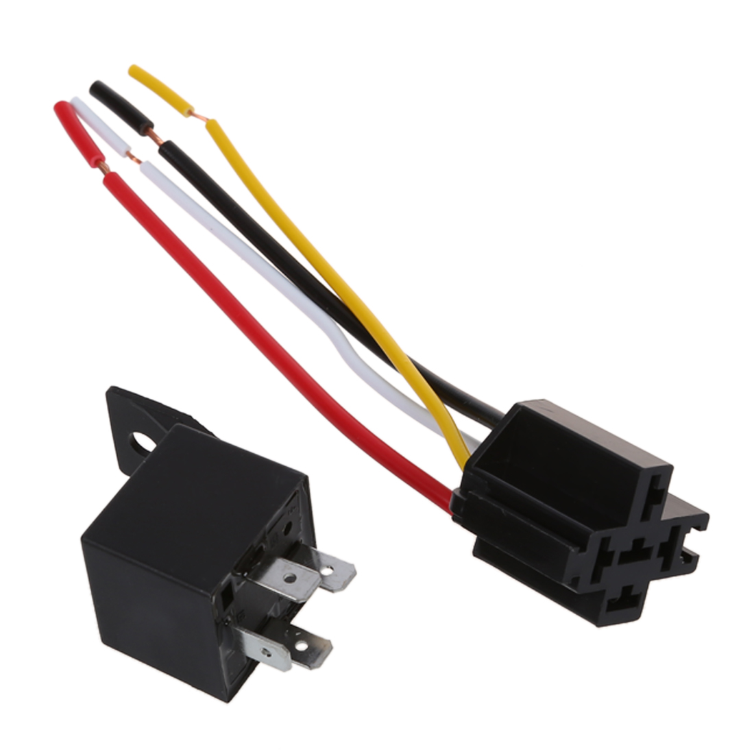 2 x Car Relay Automotive Relay 12V 40A 4 Pin Wire with 5 ...