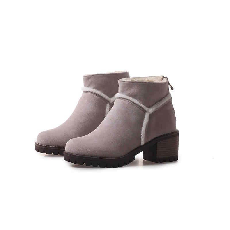 MORAZORA 2020 hot koop laarzen vrouwen ronde neus rits enkellaars flock eenvoudige winter snowboots hoge hakken platform schoenen vrouw