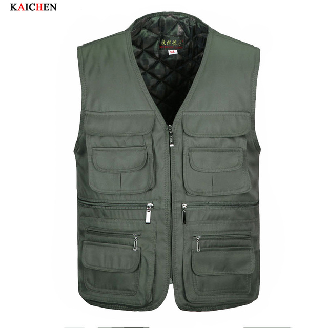 Autumn winter thicken Fashion Vests For Men Wholesale Men's Multi-pocket Photography Vest Men Casual Reporter Director Military