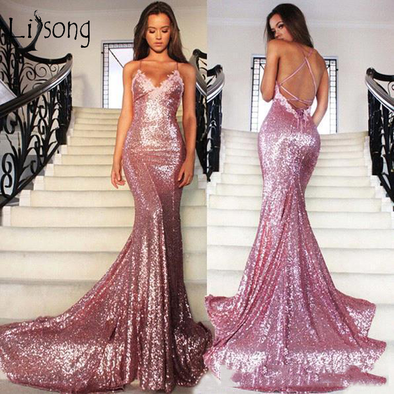 Simple Sexy Long Sequined Mermaid Pron Dresses 2019 Backless Deep V neck Formal Party Dresses Rose