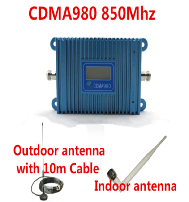 70dB CDMA 980 10M Cable+Antennas,LCD Display Function CDMA 850Mhz Phone Signal Booster 850Mhz GSM CDMA Repeater Signal Amplifier