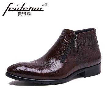 Luxury Genuine Leather Men's Zipper  Ankle Boots Alligator Pattern Handmade Cowboy Riding Man Formal Dress Shoes YMX176