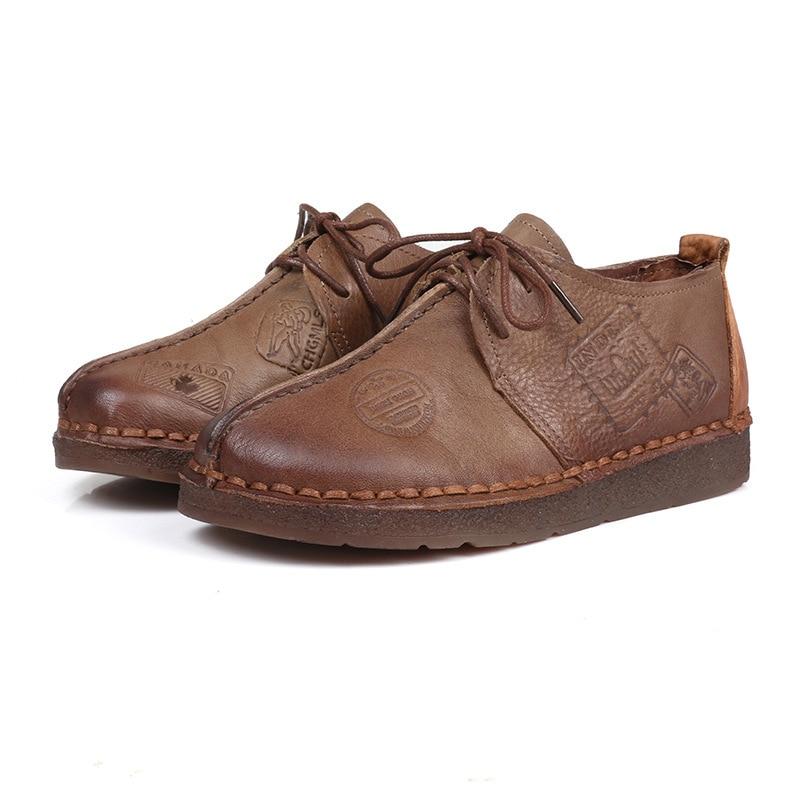 Chaussures Plates Printemps Casual Appartements wheat 35 Confortable Mère Doux Cuir Femmes grey 100 Brown 40 Mocassins En Automne Véritable Mode rIrAP