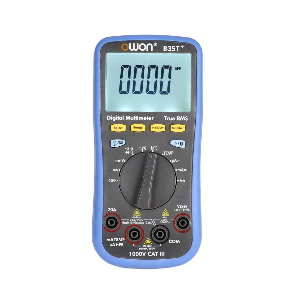 Owon B35T + Backlight Multímetro Digital LCD AC/DC Voltímetro Amperímetro True RMS Resistência Continuidade Diode hFE Tester Bluetooth
