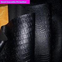 Хорошее качество, 69*50 см, 1 шт., черная ткань из искусственной кожи, искусственная крокодиловая кожа, ткань из искусственной кожи, плотная тка...