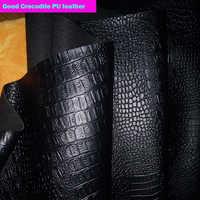 Bon 69 * 50cm1pc noir Faux PU cuir tissu Faux Crocodile Pu cuir tissu épais pour bricolage sac chaussures matériel en cuir synthétique