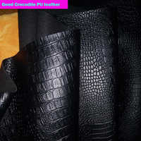 Good 69*50cm1pc Black Faux PU Leather Fabric Faux Crocodile Pu Leather Fabric Thick For Diy Bag Shoes Material Synthetic leather