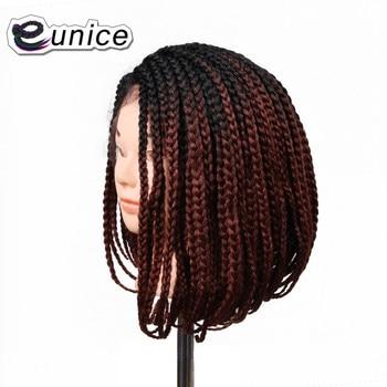 "Eunice Fashion 1PC Ombre Hair Wig Black/Purple/613 14"" Short Bob Synthetic Lace Front Wigs crochet pre-braidede Box Braid Wig"